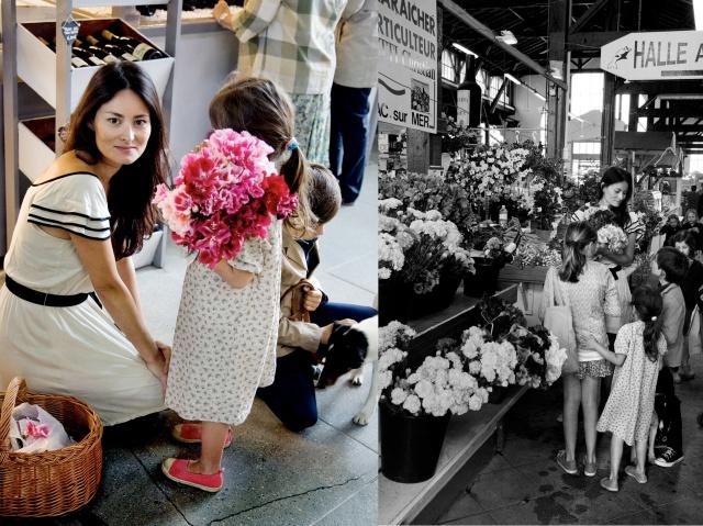 Mimi et ses enfants au marché